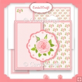 Pale peach rose daisy shaped topper card