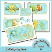 Birthday Tag Book with Decoupage