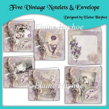 Five Vintage Notelets & Envelope Set