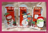 Dimensional Stand Up / Pop out Christmas Letter Box card SNOWMEN