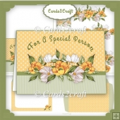 Yellow and white flowers landscape card set