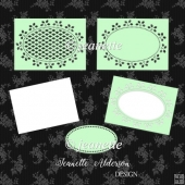 Rectangle Holly cutout Christmas card set cutting file