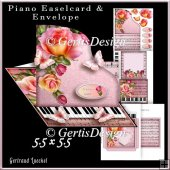 Piano Easel Card pink orange rose