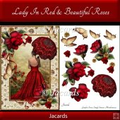 Lady In Red & Beautiful Roses