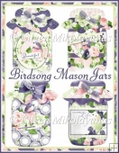 Birdsong Mason Jar Diecut Shapes for Cards, Tags, Crafts