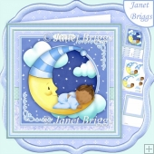 NEW BABY BOY ON MOON Ethnic 8x8 Decoupage & Insert Kit