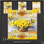Vintage Stripes and Flowers yellow 1208