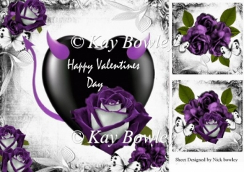 A lovely gothic valentine with Purple velvet rose & heart 8x8