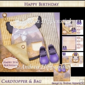 7.5 x 7.5 Card Topper with bag Baby Purple
