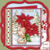 Poinsettia Mouse Christmas 7.5 Decoupage & Insert Kit