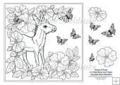 "Little Donkey In The Roses 8"" x 8"" Digi Stamp With Decoupage"