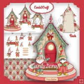 Gnome Christmas house platform card