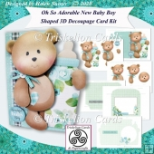 Oh So Adorable New Baby Boy Shaped 3D Decoupage Card Kit
