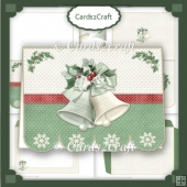 Christmas bells scalloped landscape card set