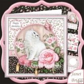 White Cat Butterfly & Rose 8x8 Decoupage Kit