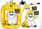 Yo! Boo! Halloween Rapper Ghost in yellow pumpkin frame