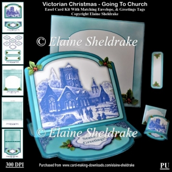 Victorian Christmas Going To Church Easel Card Kit