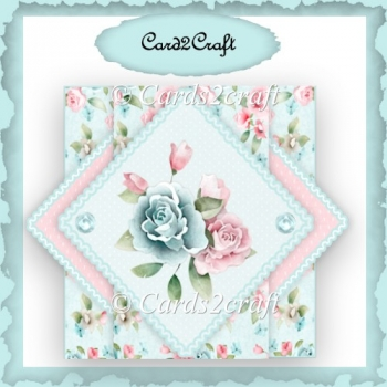 Triangle pop up blue and pink rose card set