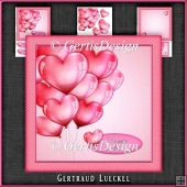 Valentine Love Birthday Pink Ballons Card Kit 1085