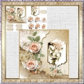 Wedding flowers card with decoupage