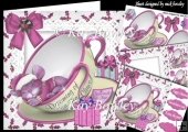 little christmas mouse in pink sleeping in a teacup mini kit