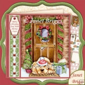 CHRISTMAS DOOR & DOG 7.5 Decoupage & Insert Kit