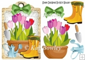 get them green fingers going with pretty tulips lace A5 Tag