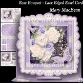 Rose Bouquet - Lace Edged Easel Card