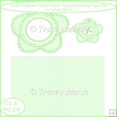 Green Gingham Flower Frame, Tag and Backing Paper Set - CU & PU