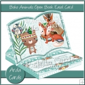 Boho Animals Open Book Easel Card with Drawer