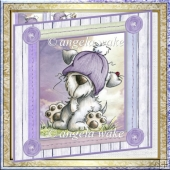 Bad hairday 7x7 card with decoupage