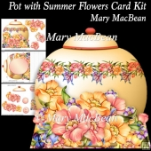 Pot with Summer Flowers Card Kit