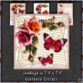 Vintage Watercolor Roses and Butterflies 1302