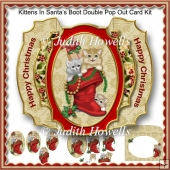 Kittens In Santa's Boot Double Pop Out Card Kit
