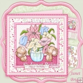 Little Mice Blooms 8x8 Decoupage Kit Various Occasions