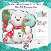 Baby's First Christmas 5.5 Inch Shaped 3D Decoupage Card