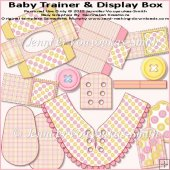Baby Trainer & Display Box-Pink & Yellow Buttons