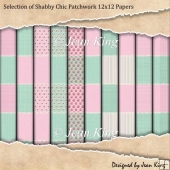 Selection of Shabby Chic Patchwork 12x12 Papers