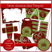 Tartan Christmas Gold Party Set