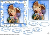 Young Flower Girl 6 inch card topper 108
