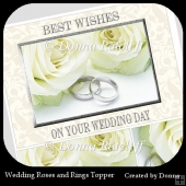 Wedding Roses and Rings Pyramage Topper