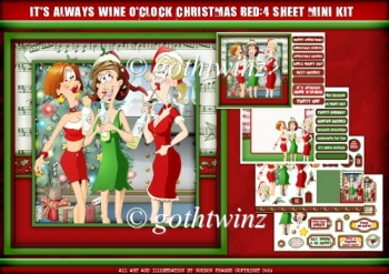 Its Always Wine OClock Christmas 4 Sheet Mini Kit