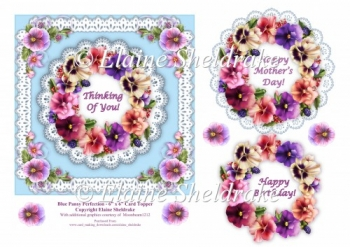 Blue Pansy & Lace Perfection - 6 x 6 Decoupage Topper