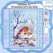 ROBIN & WATERFALL Christmas 7.5 Quick Card Kit Create Any Name