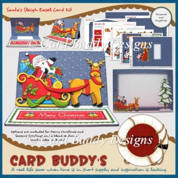 Santa's Sleigh Easel Card Kit