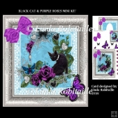 Black Cat And Purple Roses Mini Kit