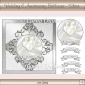 Wedding & Anniversary Balloons Card Front - Silver