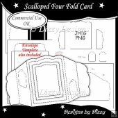Scalloped Four Fold Card Template