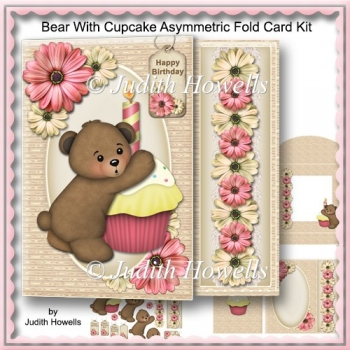 Bear With Cupcake Asymmetric Fold Card Kit