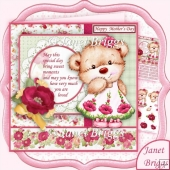 Poppy Bear 7.5 Birthday Mother's Day Decoupage Kit